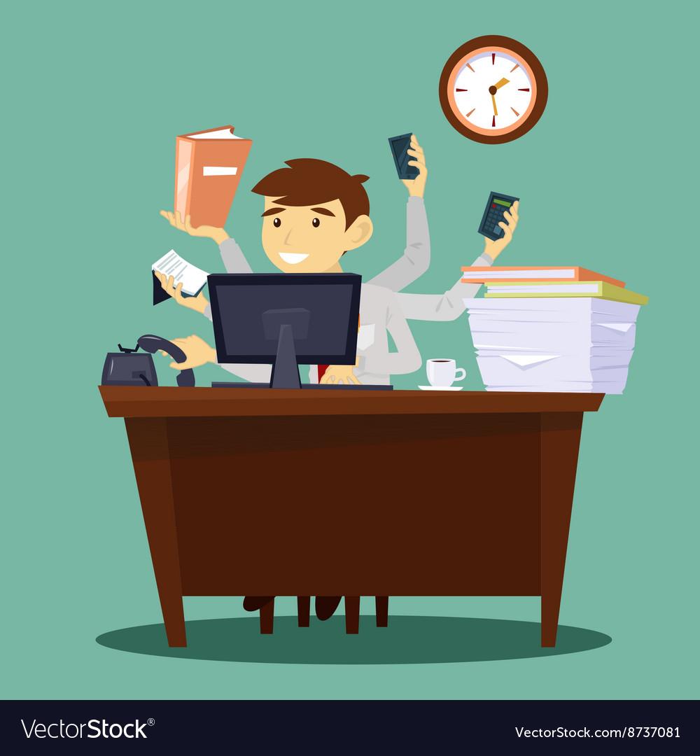 Multitasking Businessman Man at Work in Office