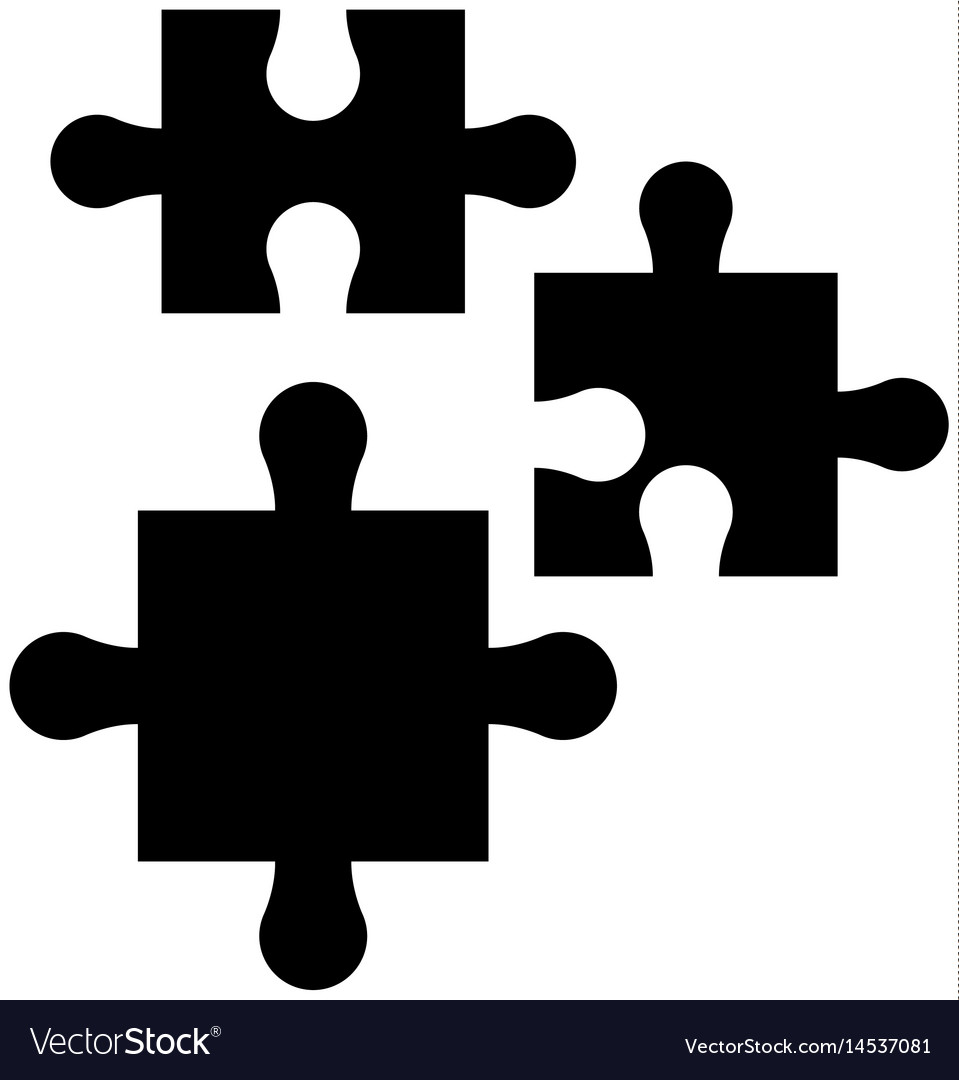Puzzle pieces work marketing silhouette