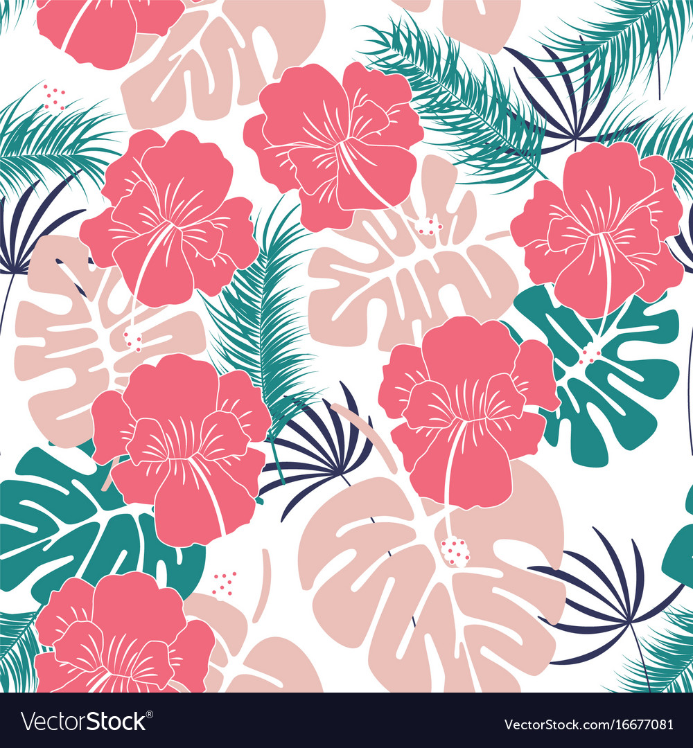 Seamless tropical pattern with monstera leaves