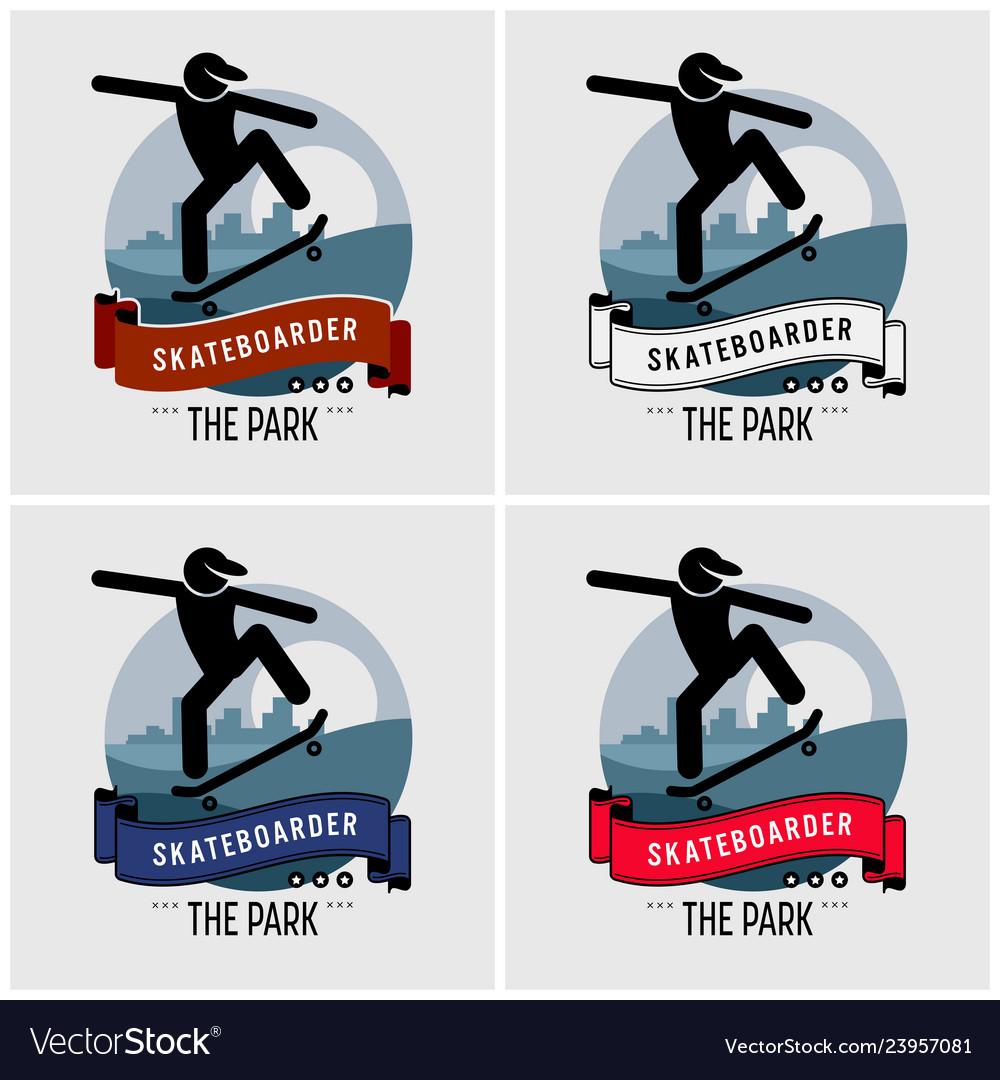 Skateboarder club logo design artwork for