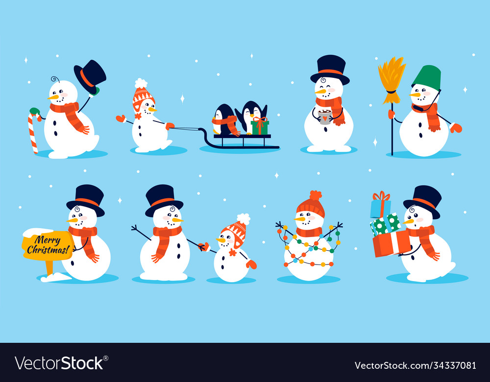 Snowman character cartoon collection christmas vector