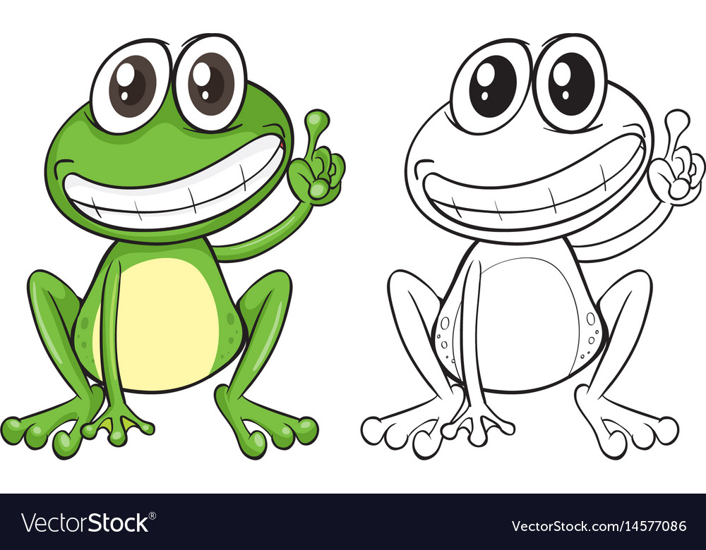 animal outline for funny frog royalty free vector image rh vectorstock com Frog Coloring Pages Frog Silhouette