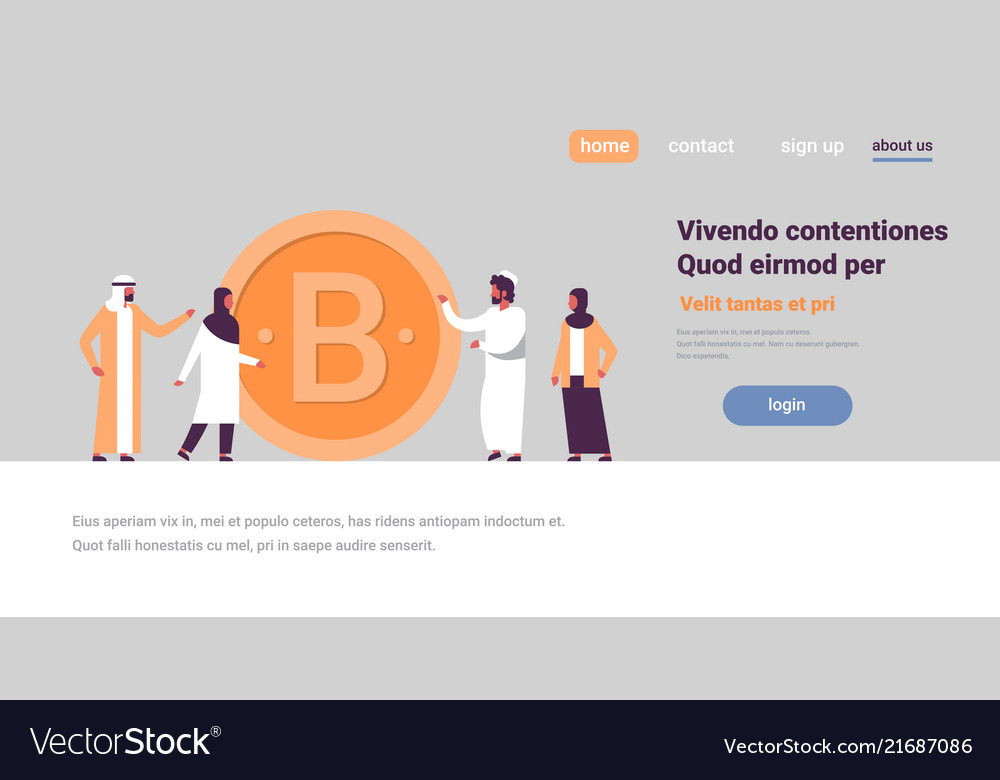 Arab business man woman mining bitcoin crypto