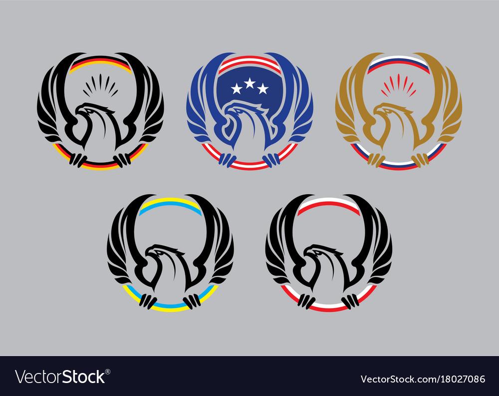 Eagle logotypes with flag