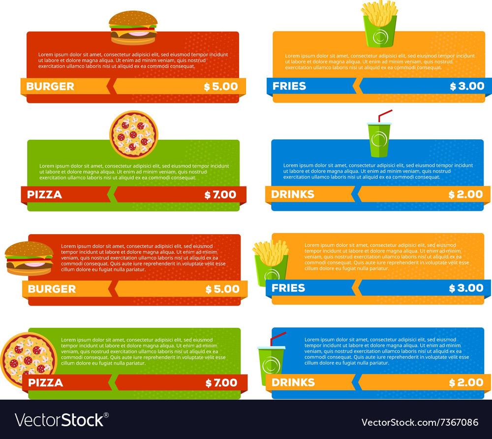 Fast Food Menu Banners vector image