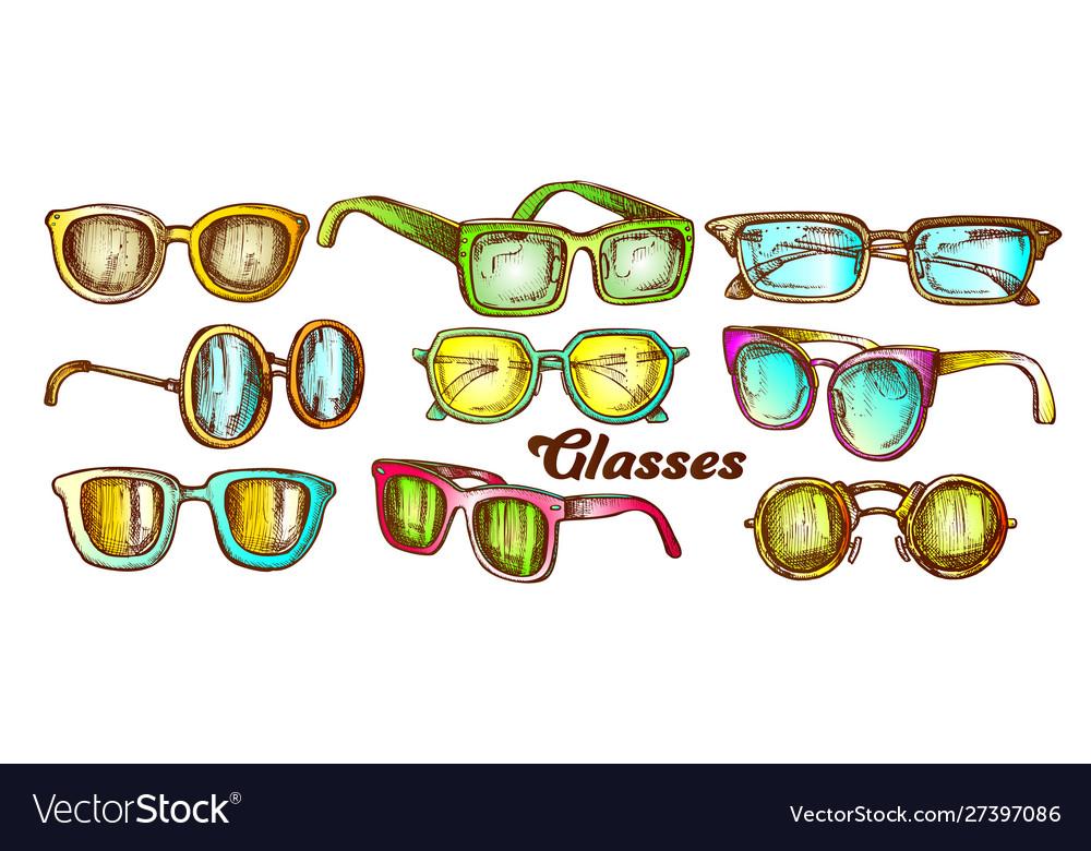 Glasses fashion accessory color set