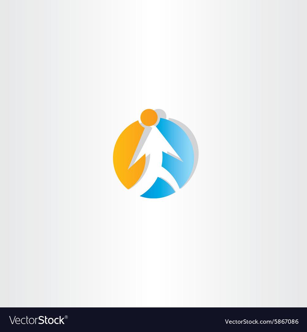 Man walking circle arrow icon vector image