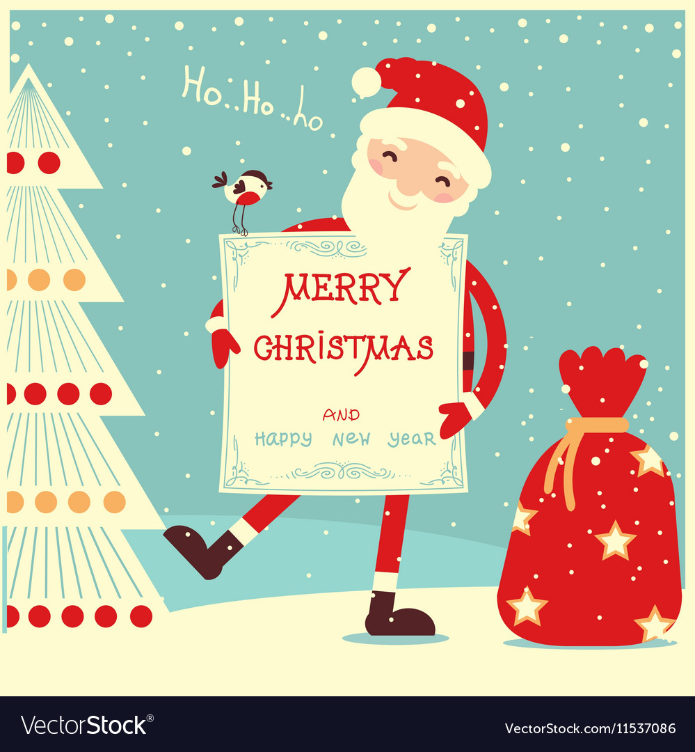 Merry christmas card with santa claus royalty free vector merry christmas card with santa claus vector image m4hsunfo