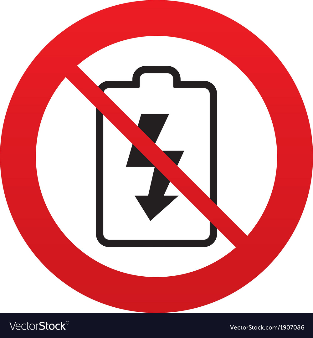 No Battery charging sign icon Lightning symbol Vector Image