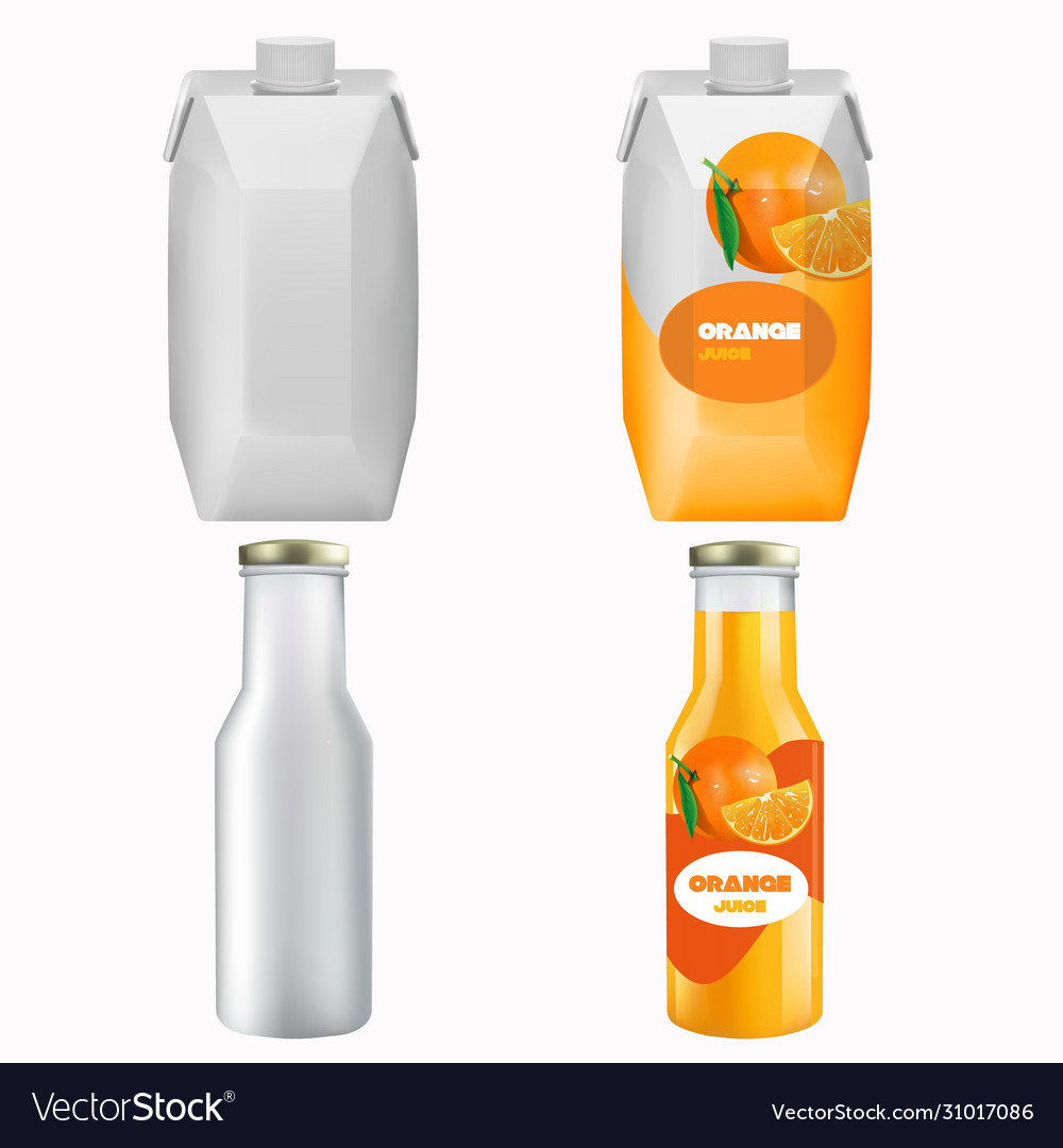 Orange juice package mock up set isolated