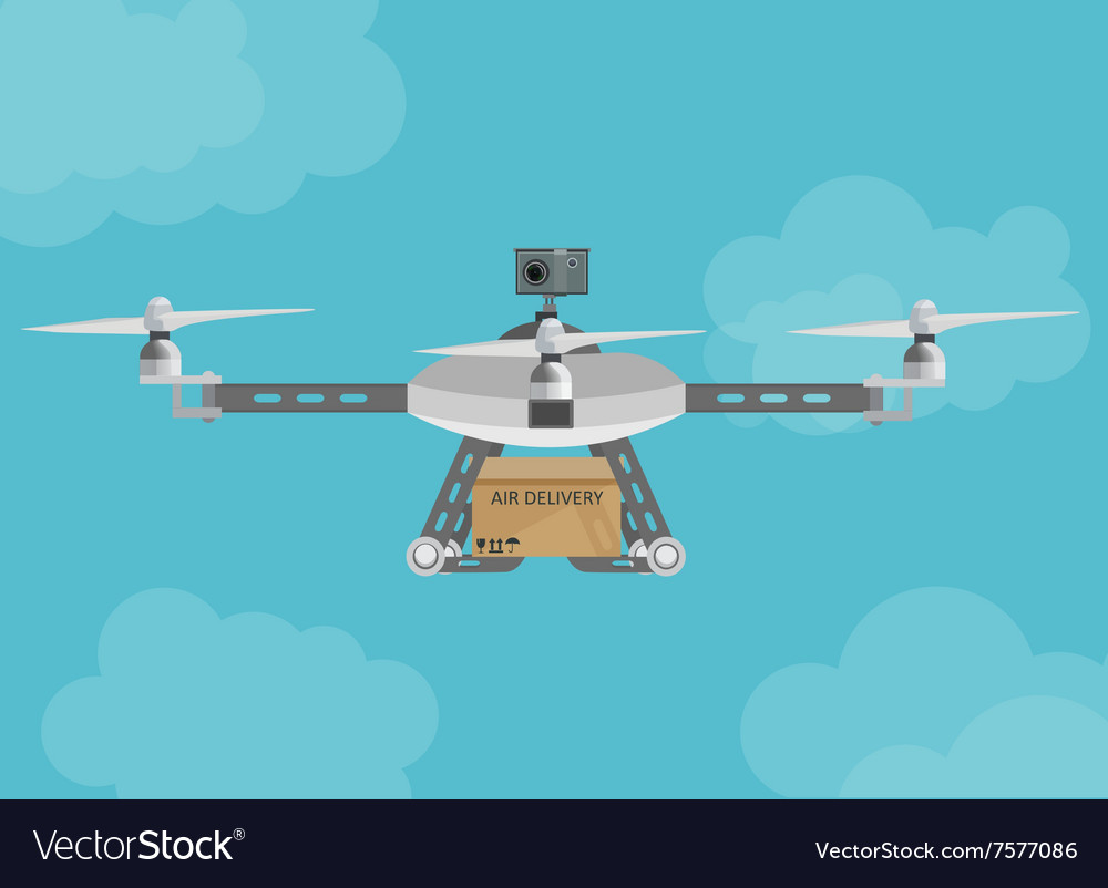 Remote air delivery drone with a box package