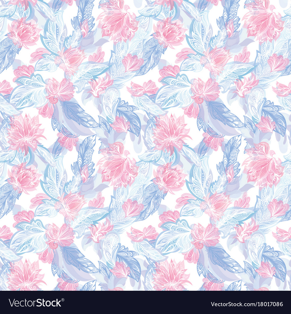 Romantic feather and lily pattern