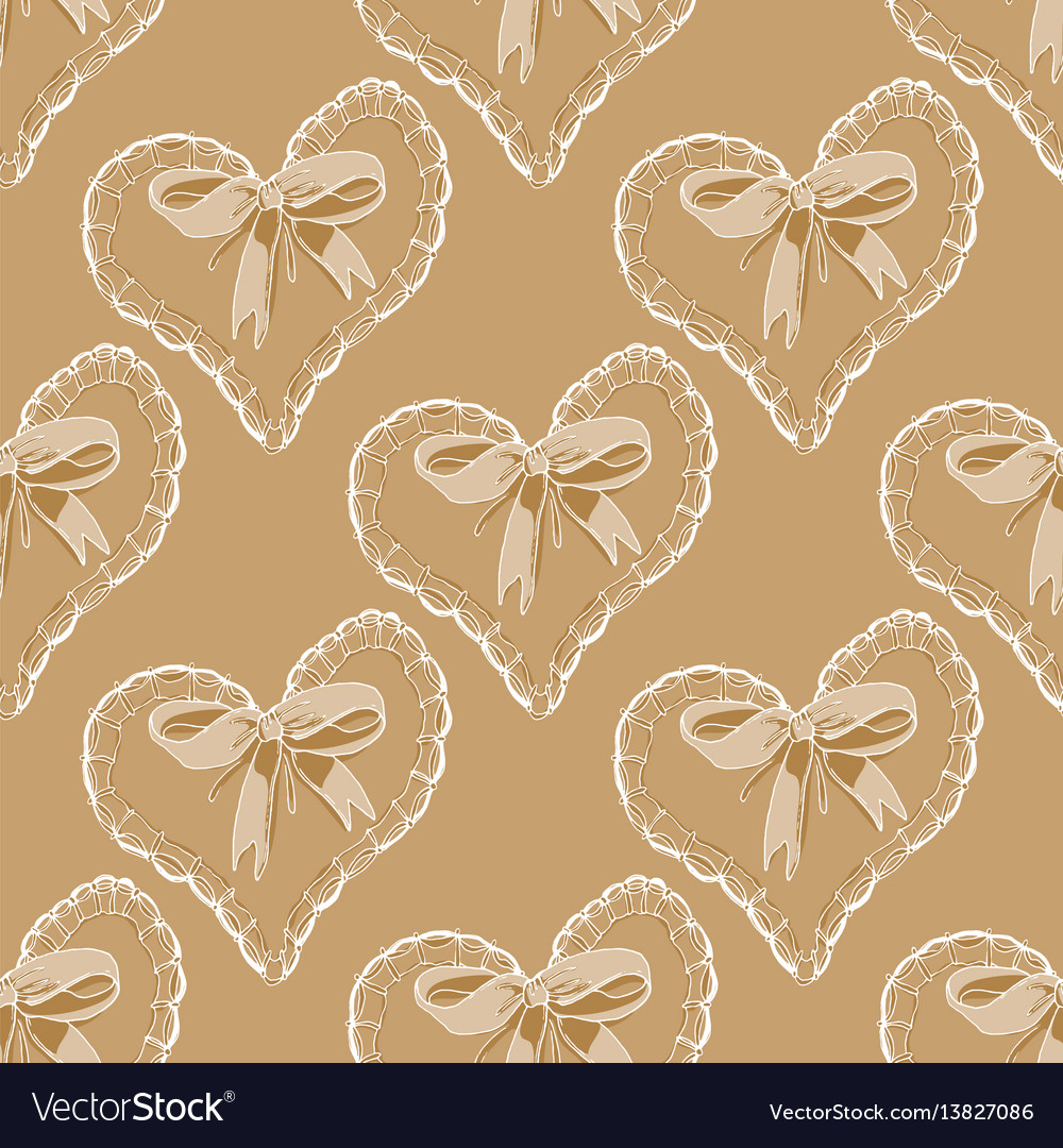 Seamless pattern with hearts and bow
