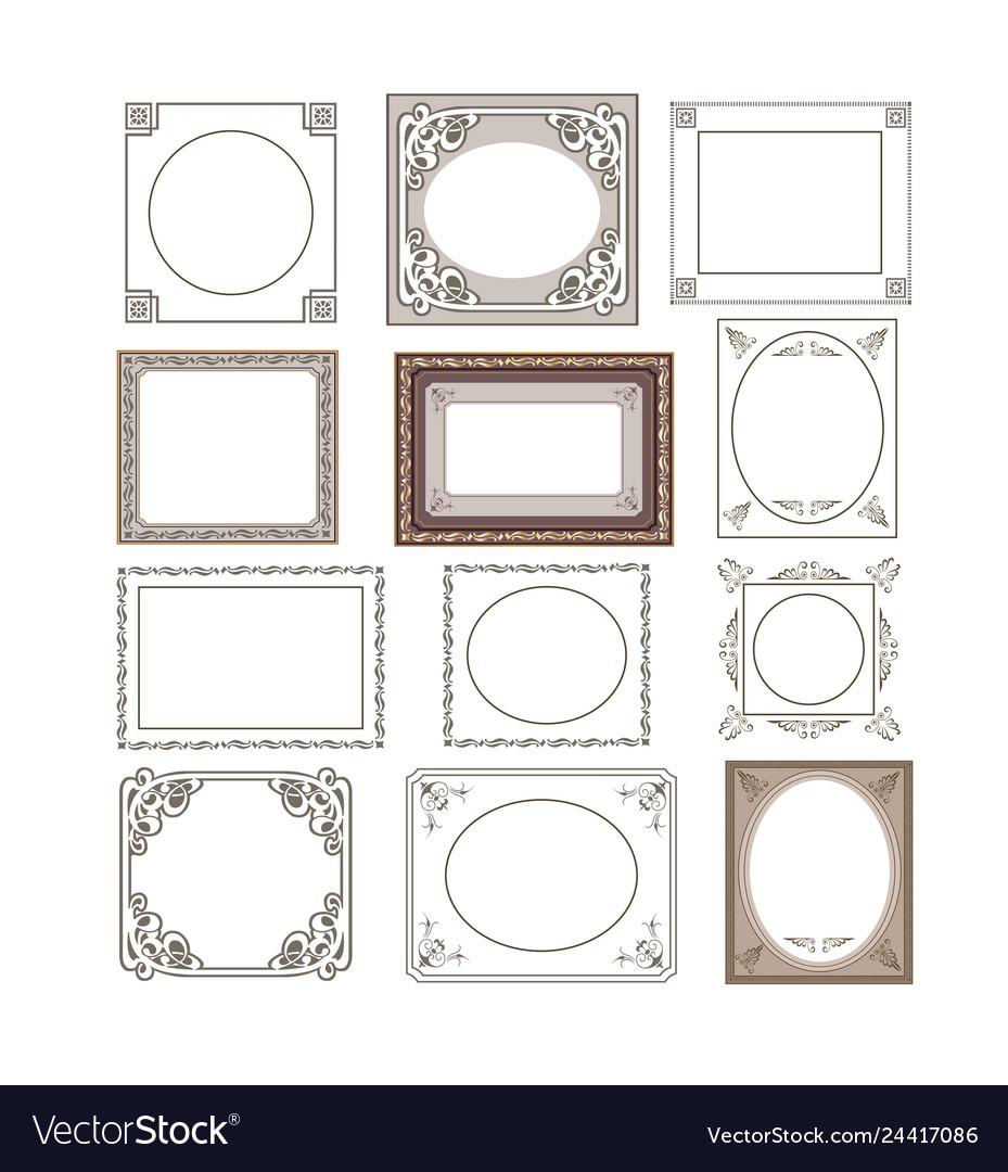 Set of floral frames border