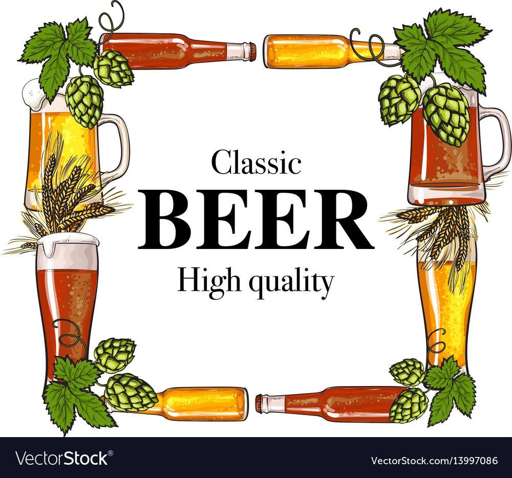 Square frame of beer bottle mug glass malt and