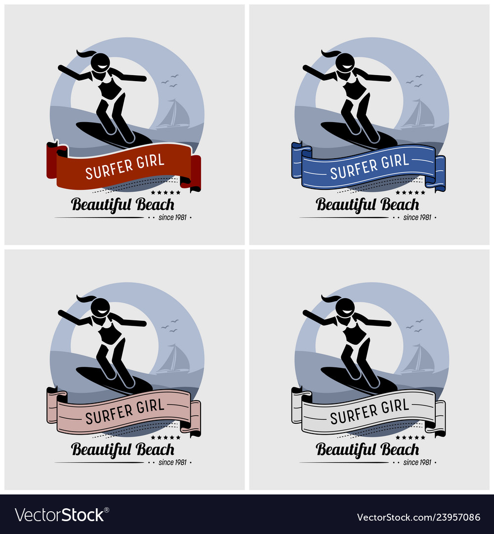 Surfer girl surfing logo design artwork a cool