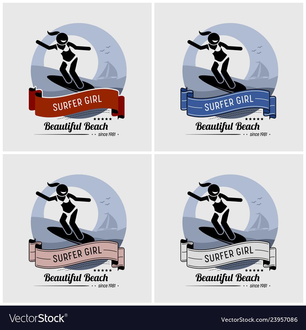 Surfer girl surfing logo design artwork of a cool
