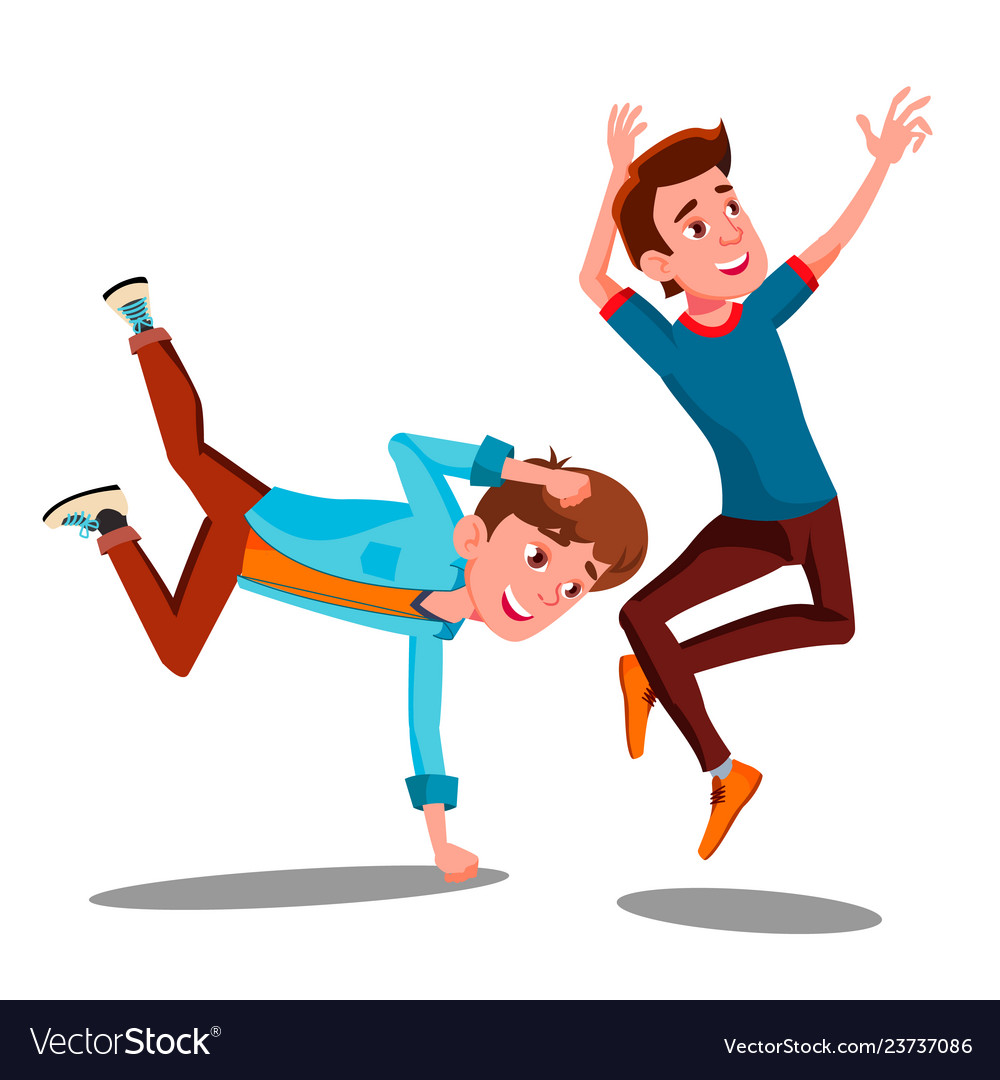 Two boys dancing break on arms isolated