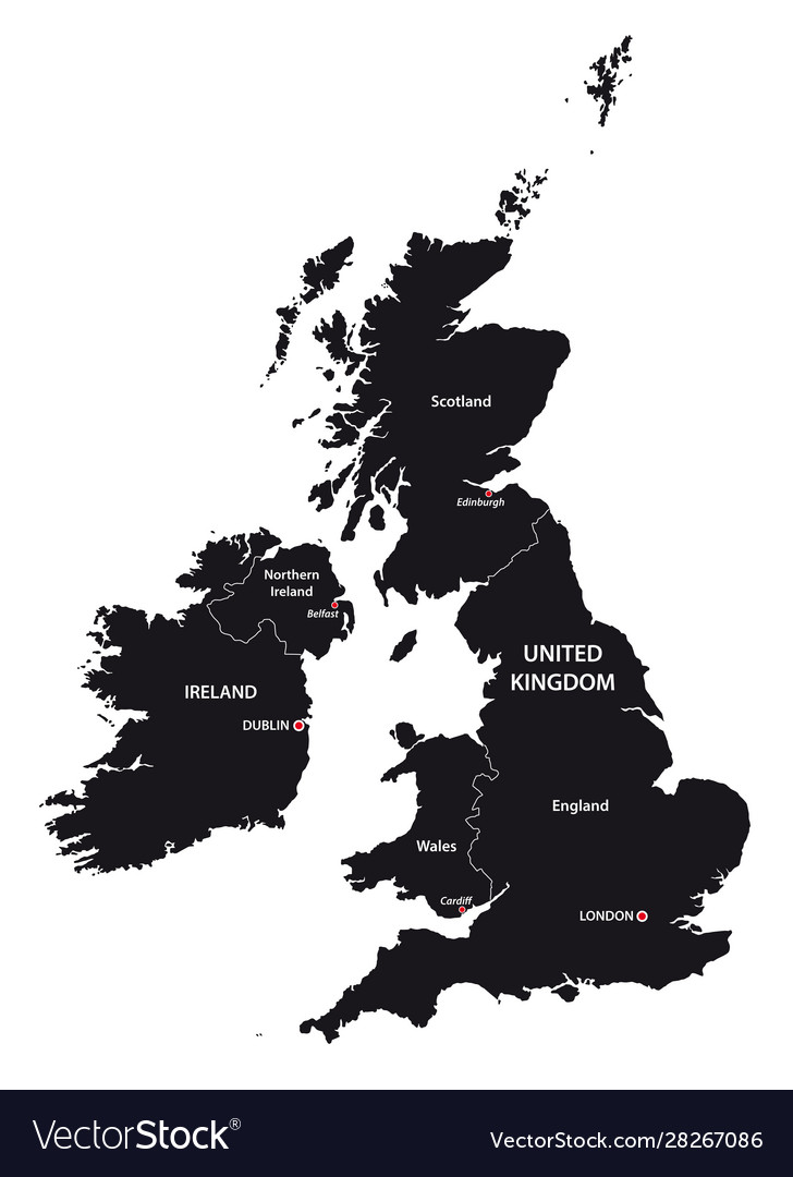 United kingdom and ireland map in black and white