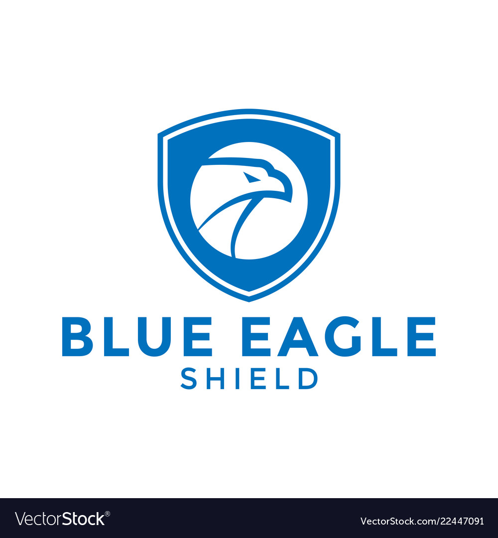 Blue eagle shield logo icon design template
