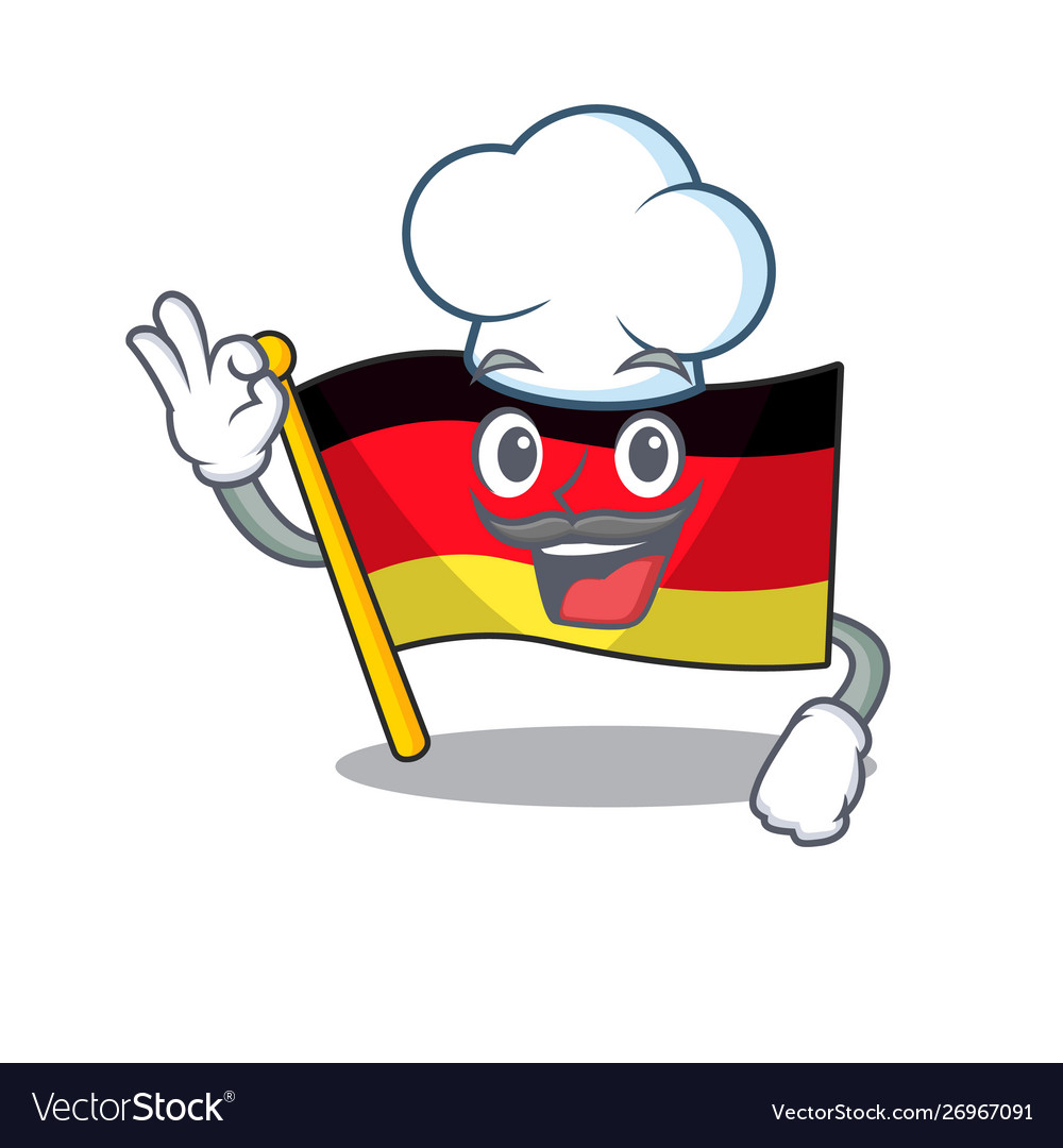 Chef germany flag flutter on cartoon pole