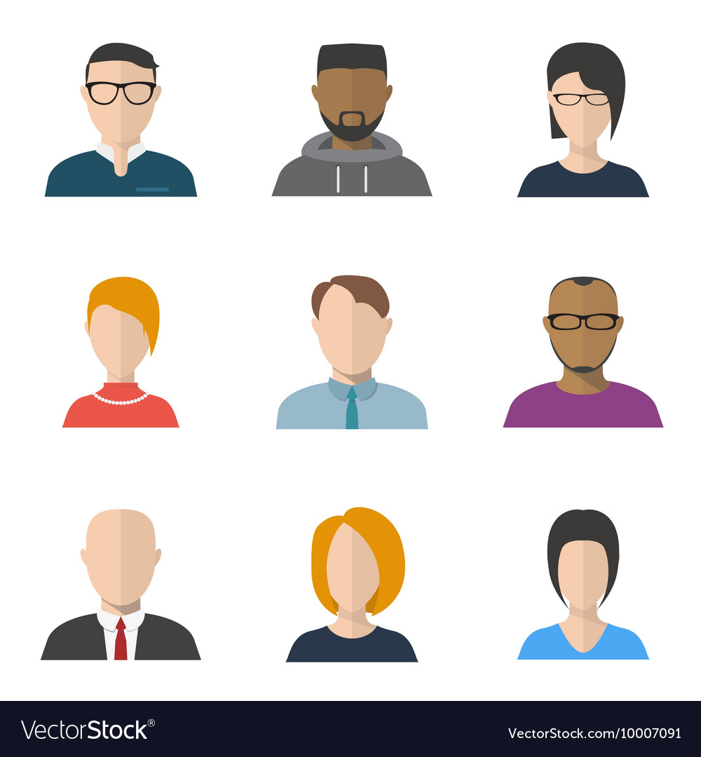 Flat faces vector image