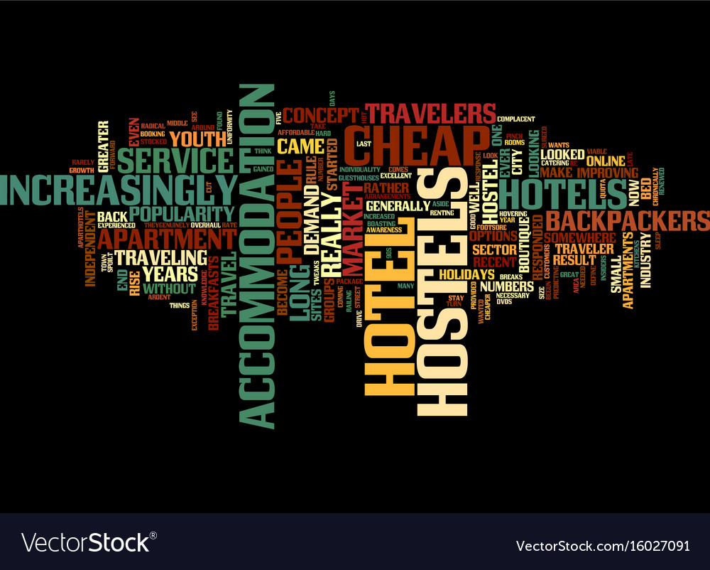 From cheap hotels to backpackers hostels text vector image