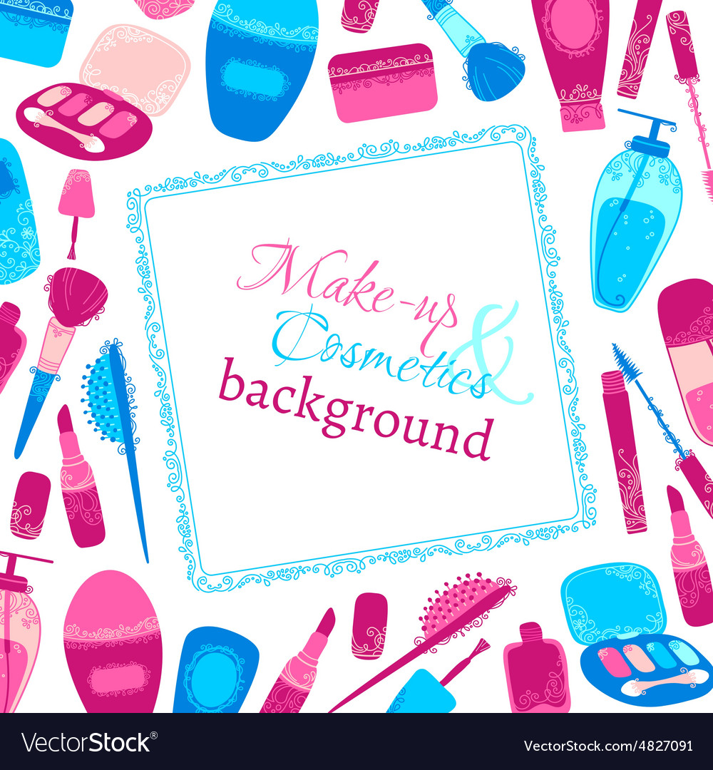 Make-up and cosmetics background vector image