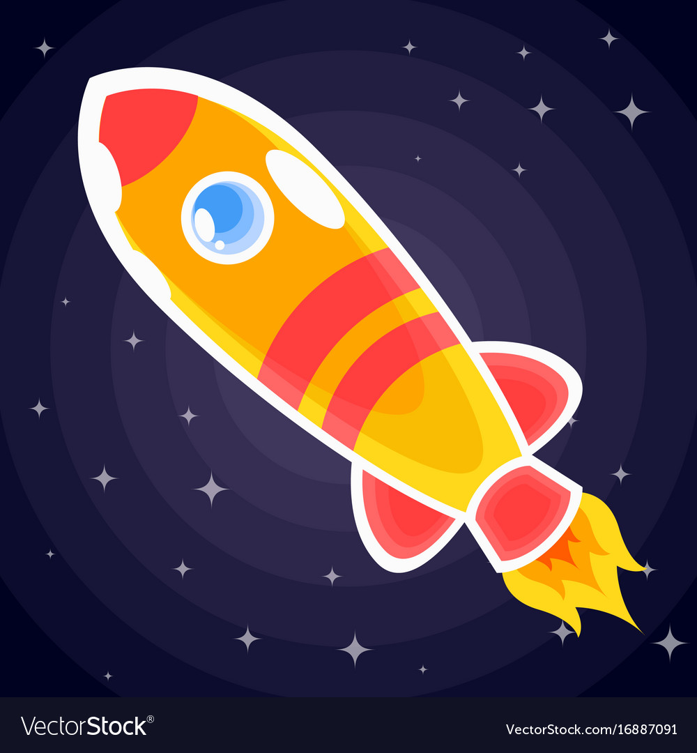 Orange with red stripes space rocket with porthole