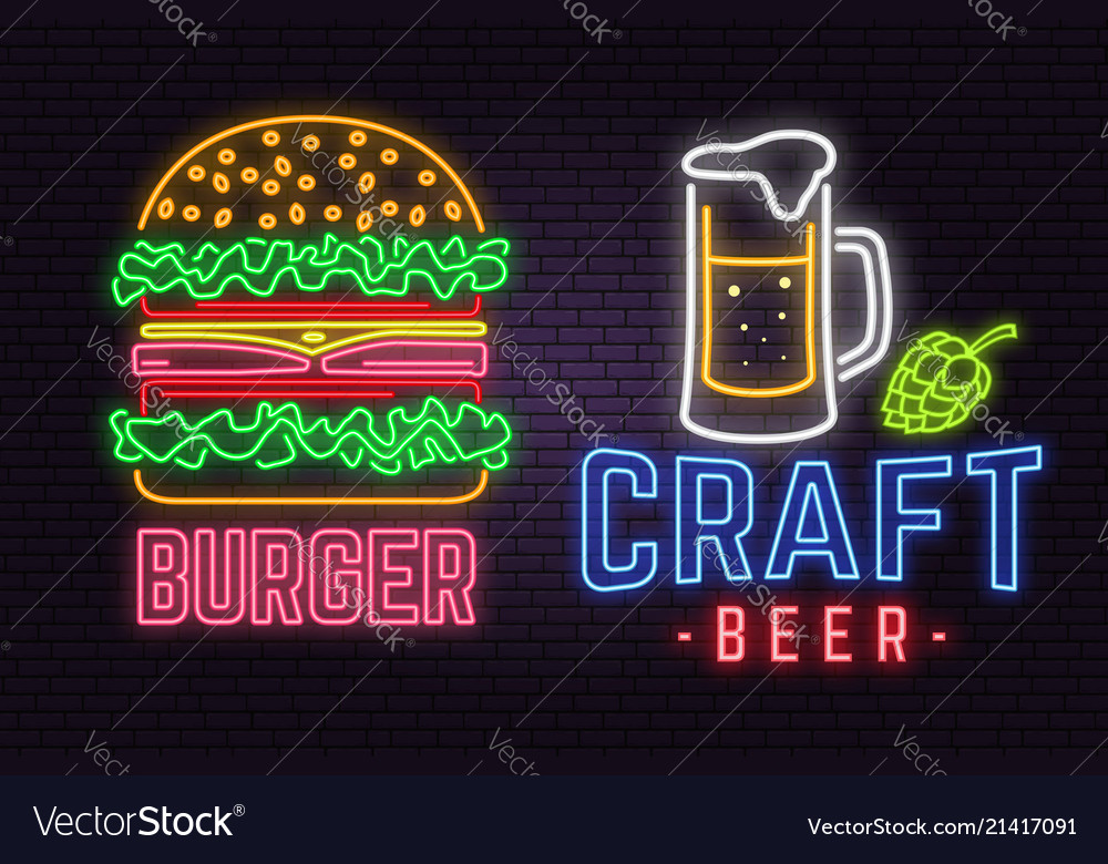 Retro neon burger and craft beer sign on brick