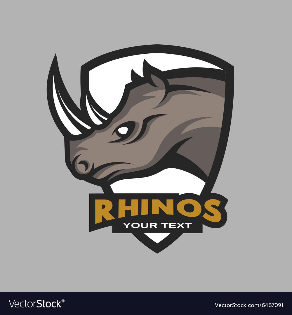 Rhino emblem logo for a sports team vector image