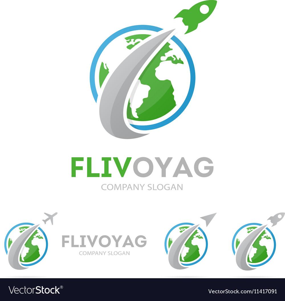 Rocket and earth logo combination