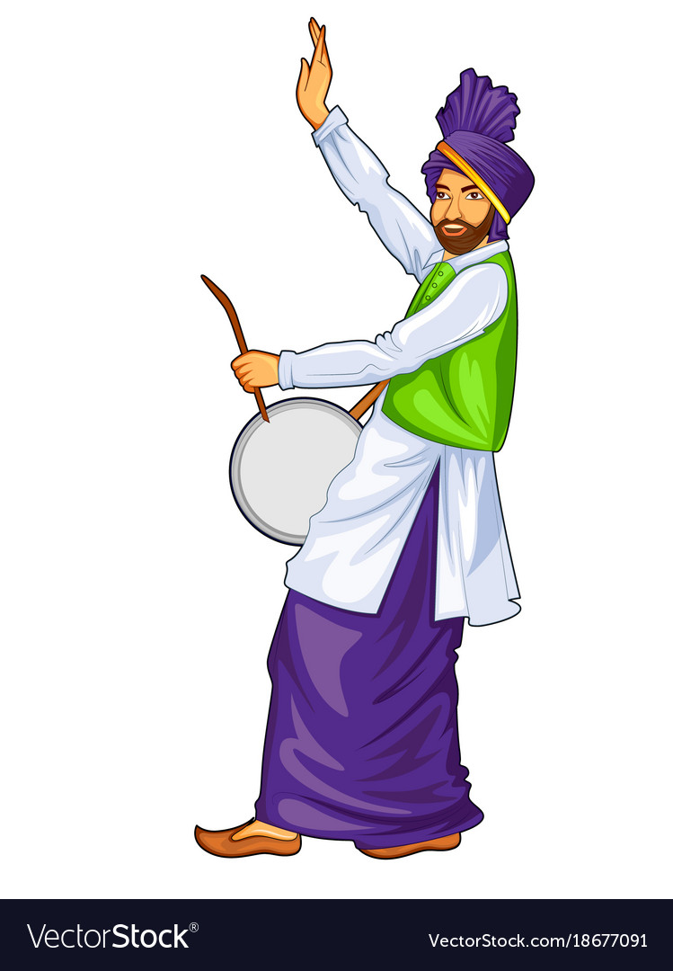 Sikh punjabi sardar playing dhol and dancing