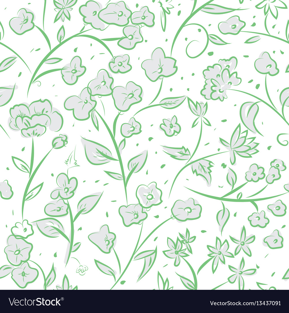 Tiny spring flowers doodle drawing pattern