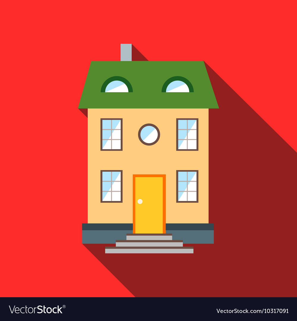 Two-storey house with green roof icon flat style