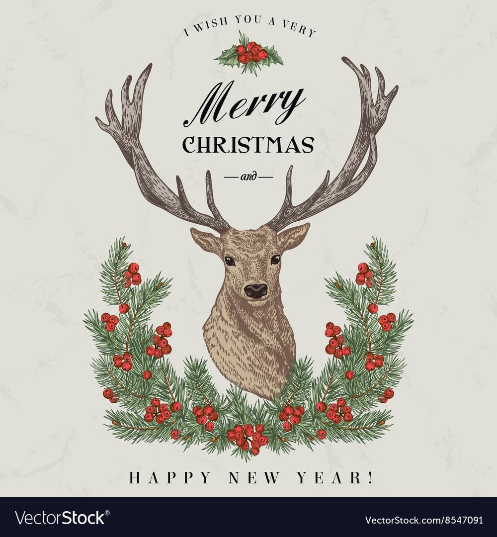Vintage Christmas card Deer