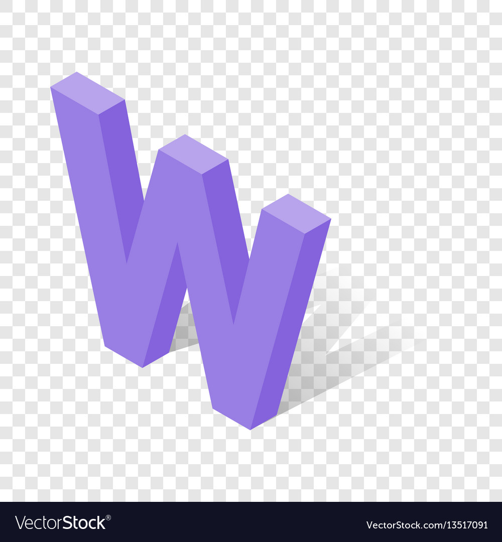 W letter in isometric 3d style with shadow