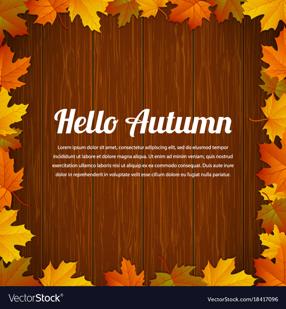 Autumn typography poster with colored leaves and