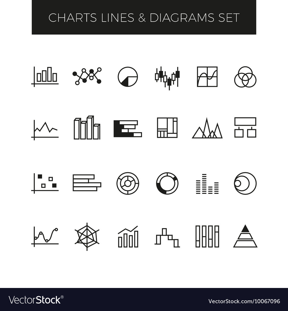 Business line charts graphs and diagrams