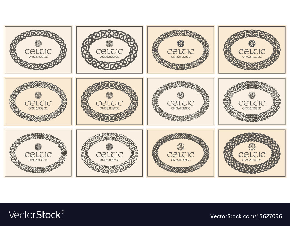Celtic knot braided oval frame border ornament a4 vector image