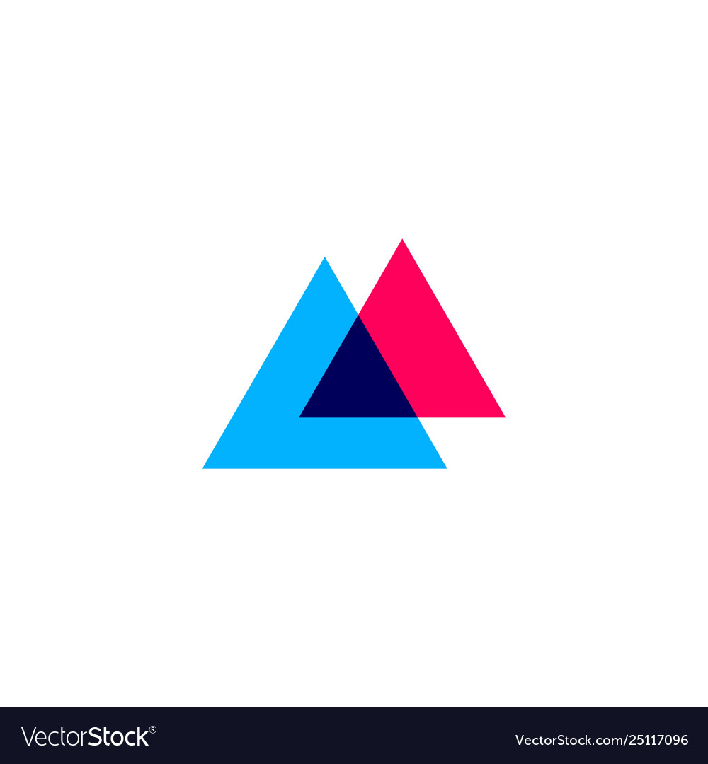Double triangle overlapping logo icon