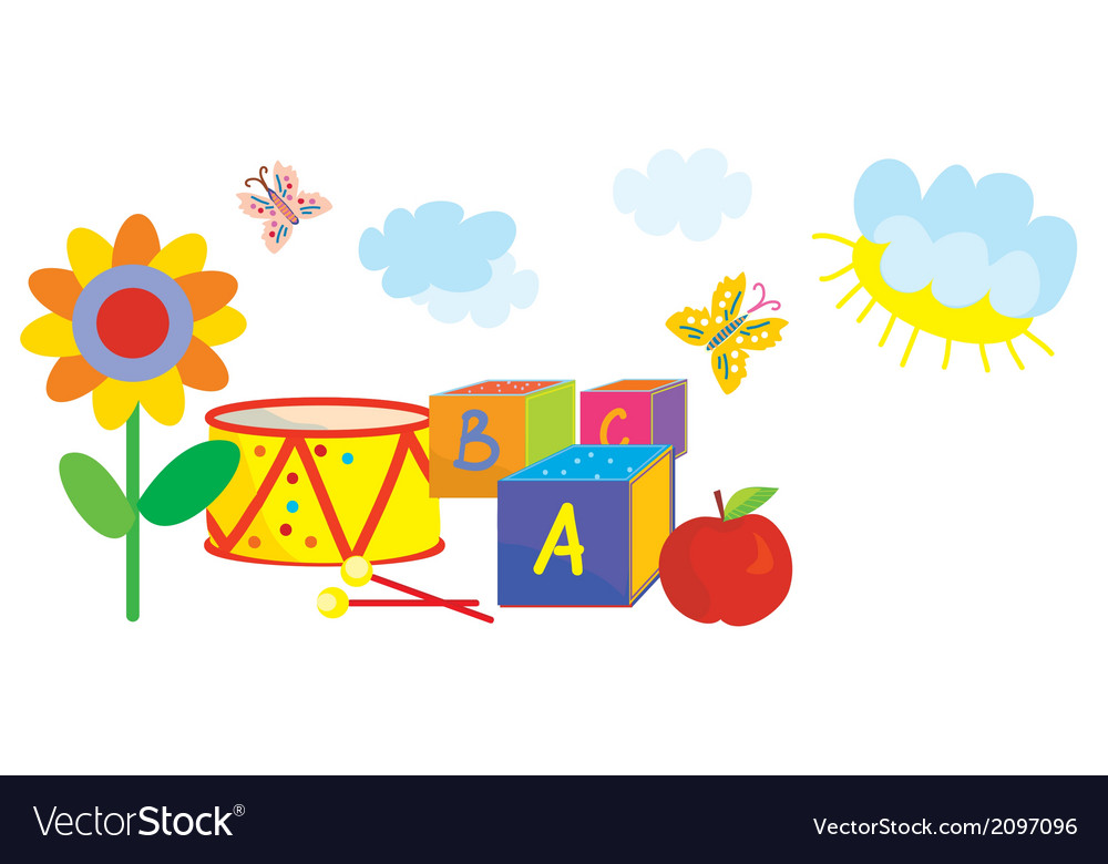 Funny banner for kids and kindergarten with toys