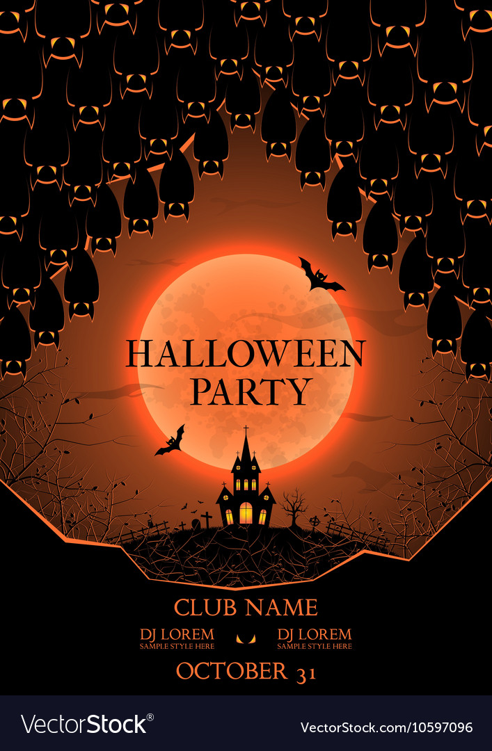 halloween party flyer royalty free vector image