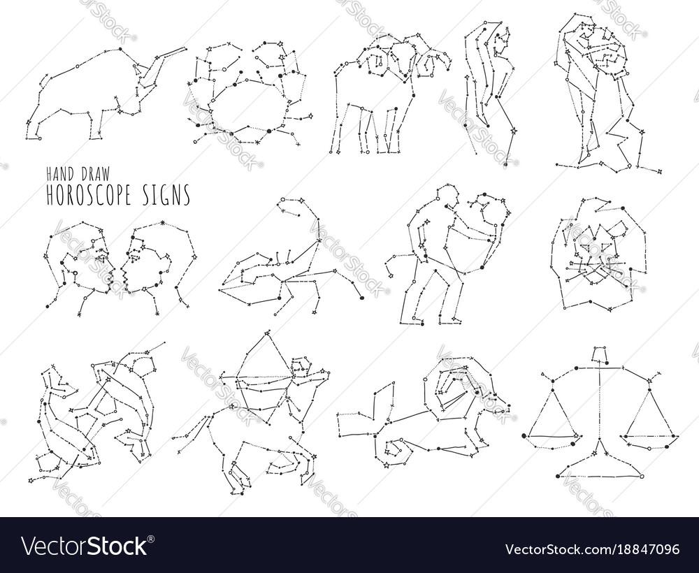 Hand draw horoscope symbols all zodiac signs in