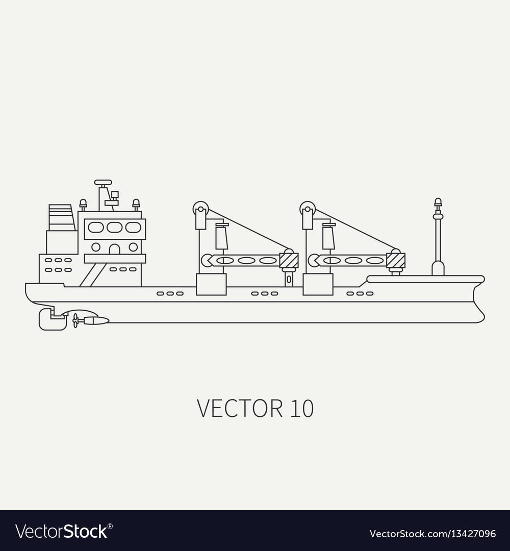 Line flat retro icon container cargo ship