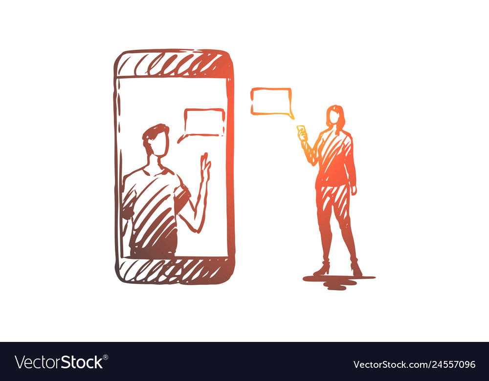 Mobile communication message woman