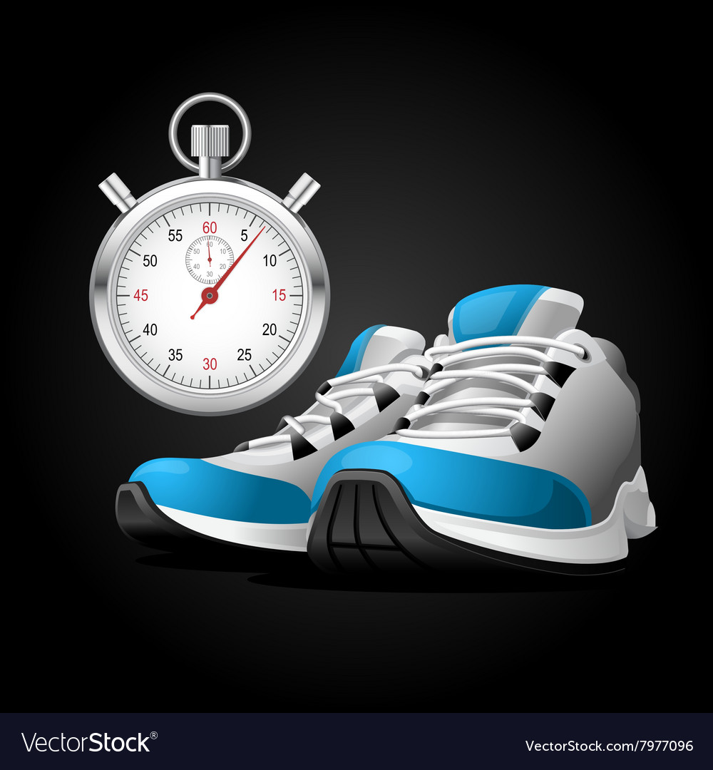 Pair running shoes and stopwatch