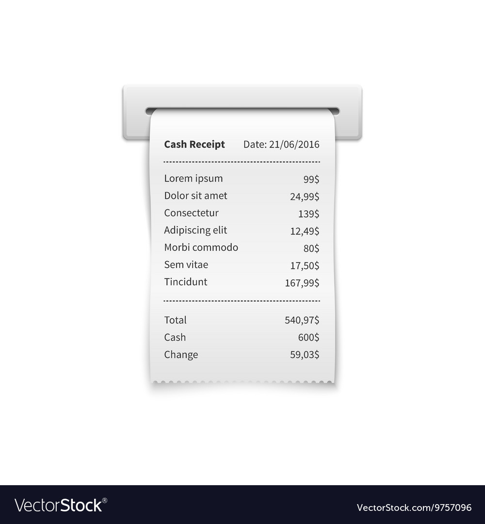 sales printed receipt shopping paper bill atm vector image