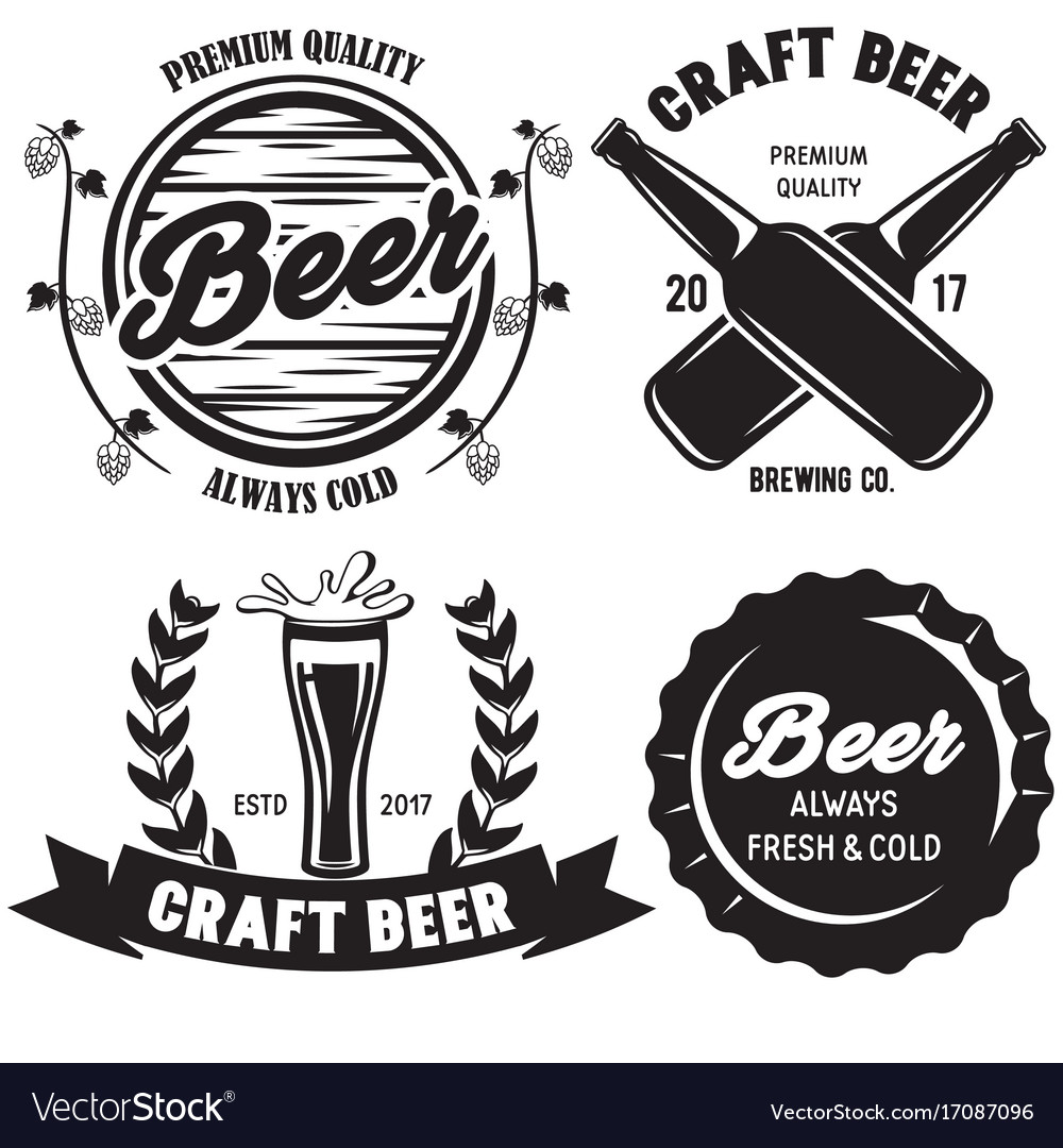 Set of craft beer badges with with design elements
