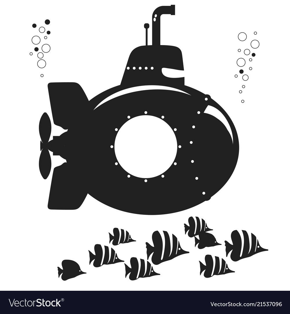 Silhouette submarine undersea boat with fishes